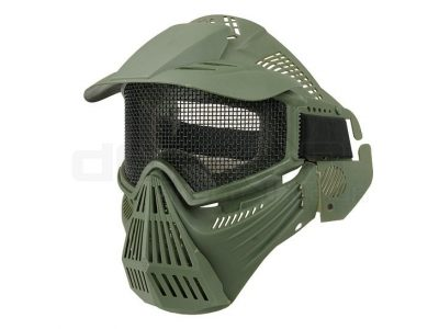 Airsoft Tactical Full Face Guard Mask with Mesh Goggles (Green)