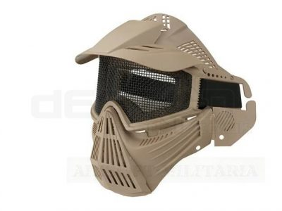 Airsoft Tactical Full Face Guard Mask with Mesh Goggles (Tan)