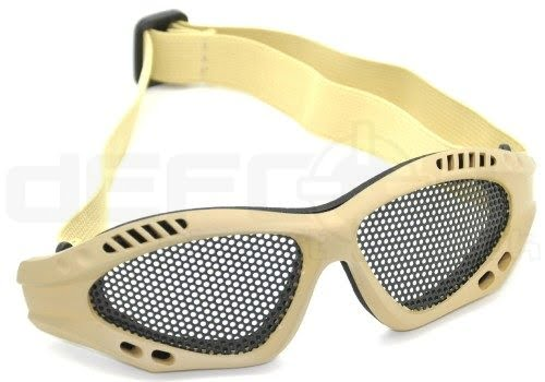Mesh Airsoft Glasses with Cotton Strap (Tan)