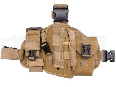 Modular drop leg panel with airsoft pistol holster (Tan)