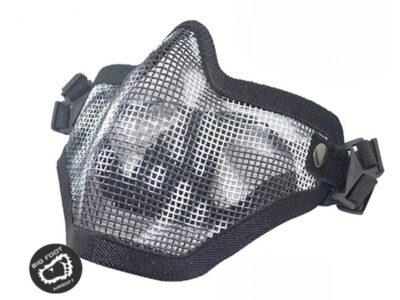 610493 Big Foot V1 Strike Steel Half Face Mask Two Belt Version - Skull Black-800x600
