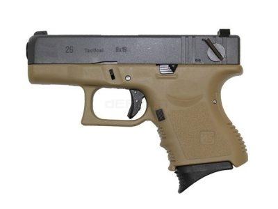 WE EU26 G26 Glock Tan Gas Blowback Pistol (Full Auto)