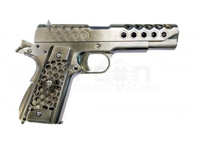 WE 1911 Hex Cut GBB Pistol (Silver)