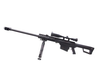 Barrett 50 Cal M82A1 bolt action sniper rifle with Scope and Bipod